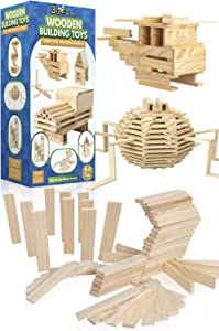 3 Bees & Me Wooden Building Toys - STEM Toys for Boys and Girls - 100 Wood Plank Pieces