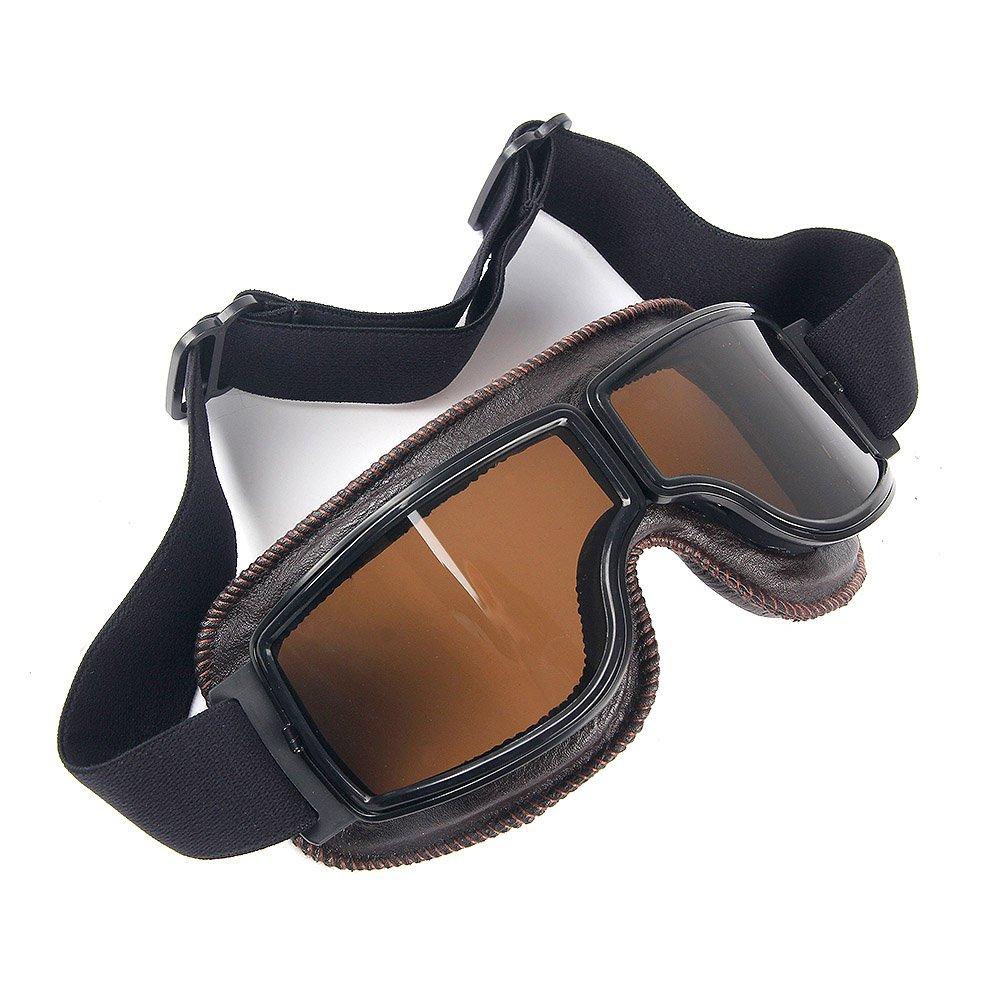 Triclicks Lunettes de Moto//Aviateur//ATV//Ski///Équitation//Protection Vintage Masque Anti-UV Anti-Poussi/ère Anti-Sable Anti-Brouillard Fume Lent Transparent