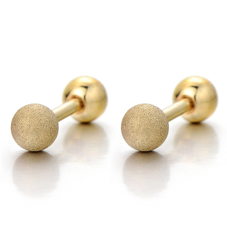 2pcs 4MM Barbell Ball Screw Stud Earrings for Men for Women, Stainless Steel Cheater Fake Ear Plugs(Gold) COOLSTEELANDBEYOND ME-499-02-CA