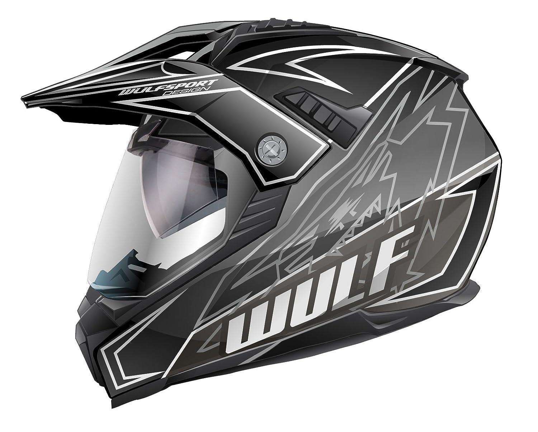 53-54cm Gr/ün XS WULFSPORT PrimeX Doppel Sonnenblende Dual Sport Motorrad Motocross Helm ECE2205 Genehmigt