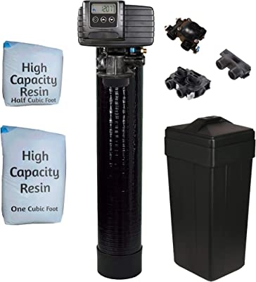 Fleck 5600sxt Metered On-demand 48,000 Grain Water Softener with brine tank, bypass and 1