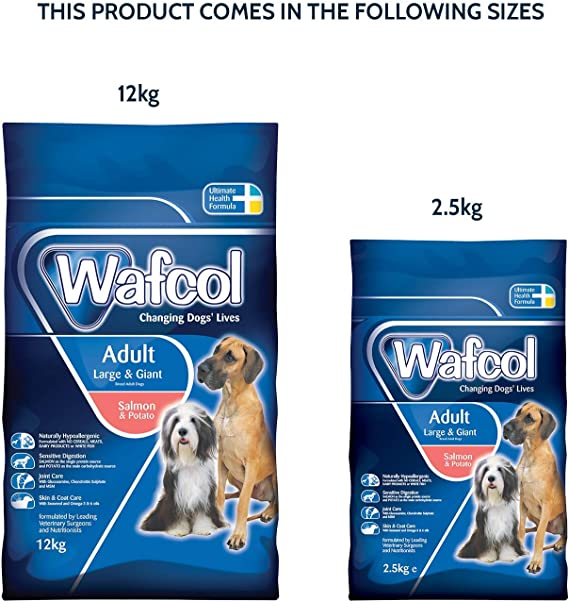 Wafcol Adult Sensitive Dog Food Salmon Potato Grain Free Dog Food For Large And Giant Breeds 12 Kg Pack
