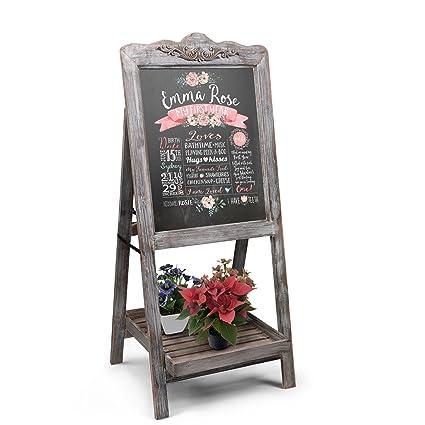Amazon.com : Flexzion A-Frame Chalkboard Sign Rustic Wooden Sidewalk ...