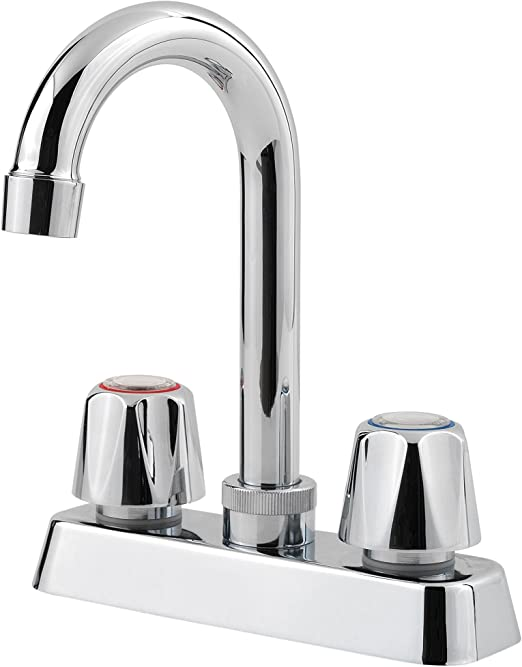 Pfister Pfirst Series 2-Handle Kitchen Faucet with White Side Spray Polished Chrome
