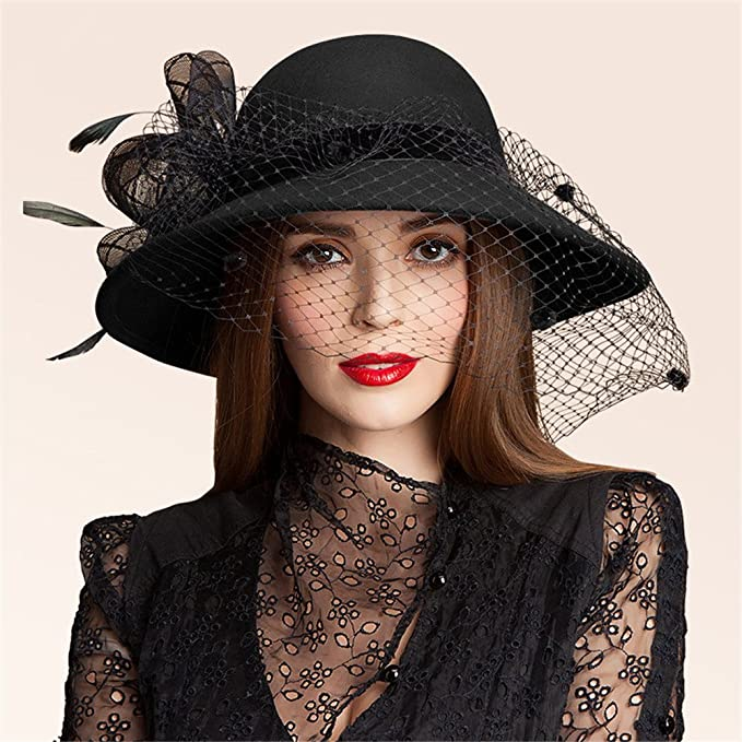 Edwardian Hats, Titanic Hats, Tea Party Hats Black Womens Wool Felt Floral Veil Netting Feather Wide Brim Derby Hat A322 $30.99 AT vintagedancer.com