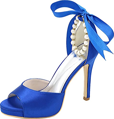 3d40eab3edb7 Vimedea Womens Ankle Straps Pearl Knot Bride Heeled Sandals Open Toe  5915-20B Blue US