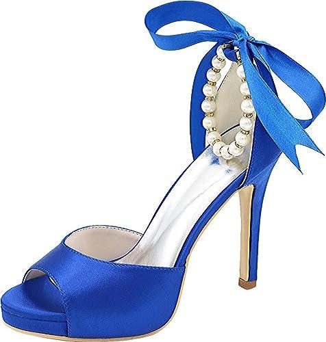 60d41e0707d8 Vimedea Womens Ankle Straps Pearl Knot Bride Heeled Sandals Open Toe  5915-20B Blue US