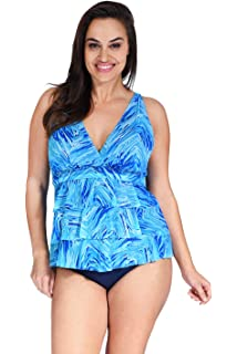 496d166d507 Mazu Swim Plus Size Women's Mesh Ruffle Triple Tier Swimwear Tankini Top  (18W-24W