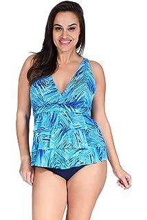 1f134ab234 Mazu Swim Plus Size Women s Mesh Ruffle Triple Tier Swimwear Tankini Top  (18W-24W