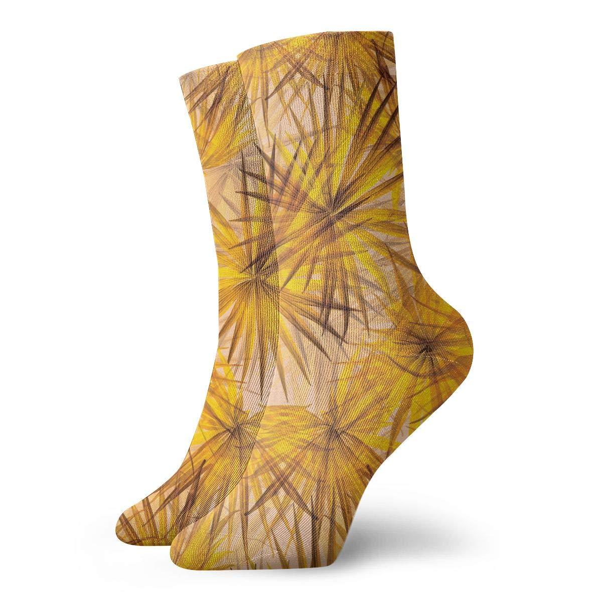 Women Men Beach Jungle Leaves Pattern Cushion Crew Socks