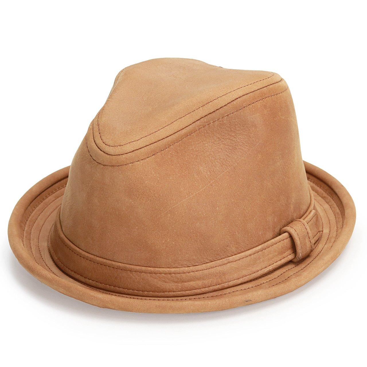 ニューヨークハット 帽子 中折れ レザー ヴィンテージ風 本革 ショートブリム 9290 Vintage Leather Fedora 茶 ラスト B00NTI7F8A   L(約57cm)