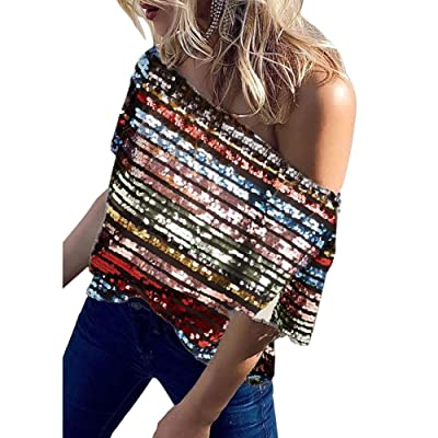 JUNBOON Women Sexy Off Shoulder Sequin Tops Glitter Short Sleeve Loose Blouses Shirts at Women's Clothing store