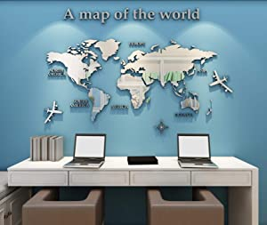 3D Wall Stickers - DIY World Map Wall Decal Sticker Murals Map Wall Décor for Nursery Living Room Bedroom TV Background Home Decorations(Silver,M: 120x60 cm)