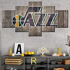 """Rustic Home Decor Salt Lake City House Decorations for Living room Utah Jazz Wall Art Paintings NBA Pictures Basketball Canvas 5 Panels Modern Artwork Framed Gallery-wrapped Ready to Hang 60""""Wx32""""H"""