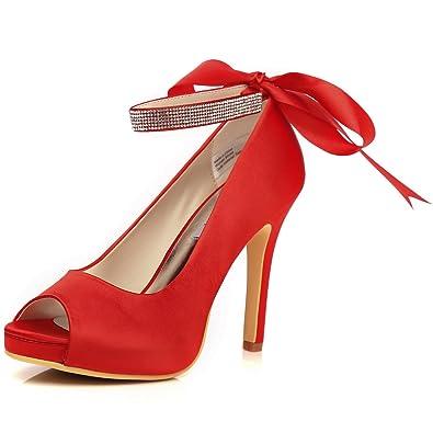 dd39c329cd8850 M MULGARIA Womens Platform Peep Toe Pumps Satin Wedding Formal Evening  Rhinestone Ankle Strap Heel Shoes