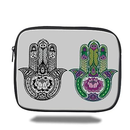Amazon com: Laptop Sleeve Case,Hamsa,Hand Drawn Symbols with