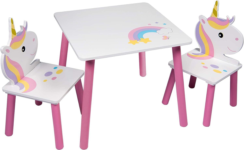 Global Industry 47798-S - Juego de Mesa y 2 sillas, MDF, Color Blanco y Rosa, Talla única: Amazon.es: Hogar