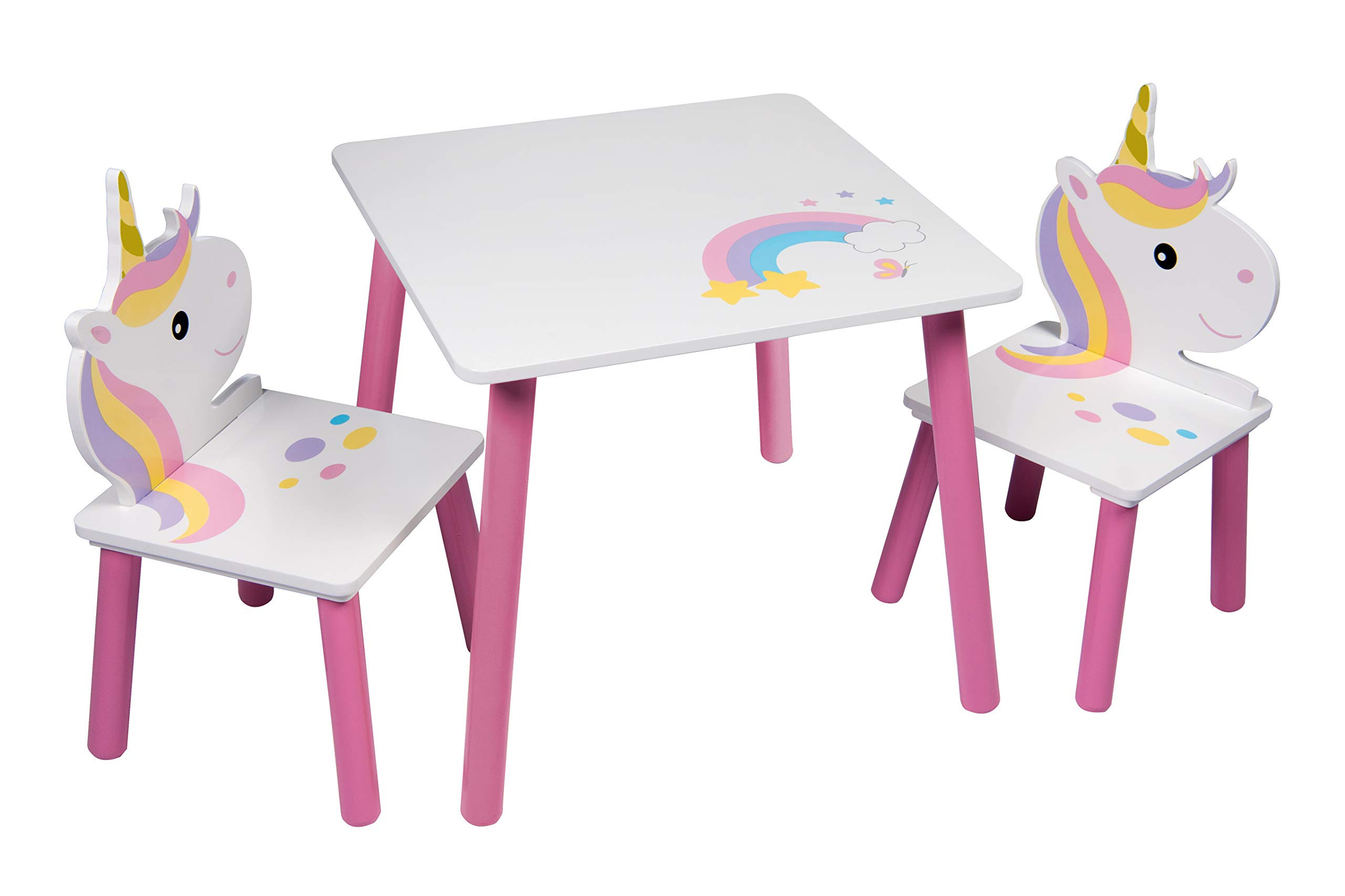 Unicorn Table And 2 Chairs Set Childrens Kids Toddler Nursery Playroom Furniture by Global toys