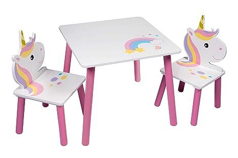 Juego de mesa y 2 sillas de unicornio para niños, guardería, sala de juegos