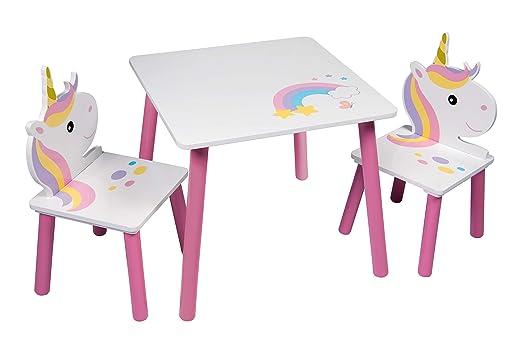 Amazon.com: Unicornio mesa y 2 sillas, muebles de infantil ...