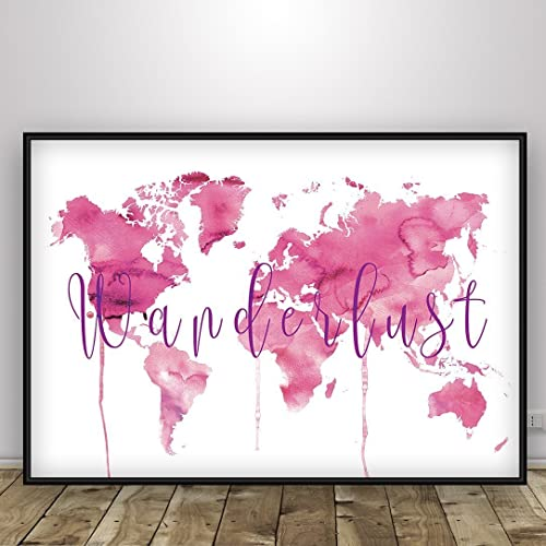 Amazon world map print wanderlust typography poster pink world map print wanderlust typography poster pink watercolor globe map of the world gumiabroncs Images