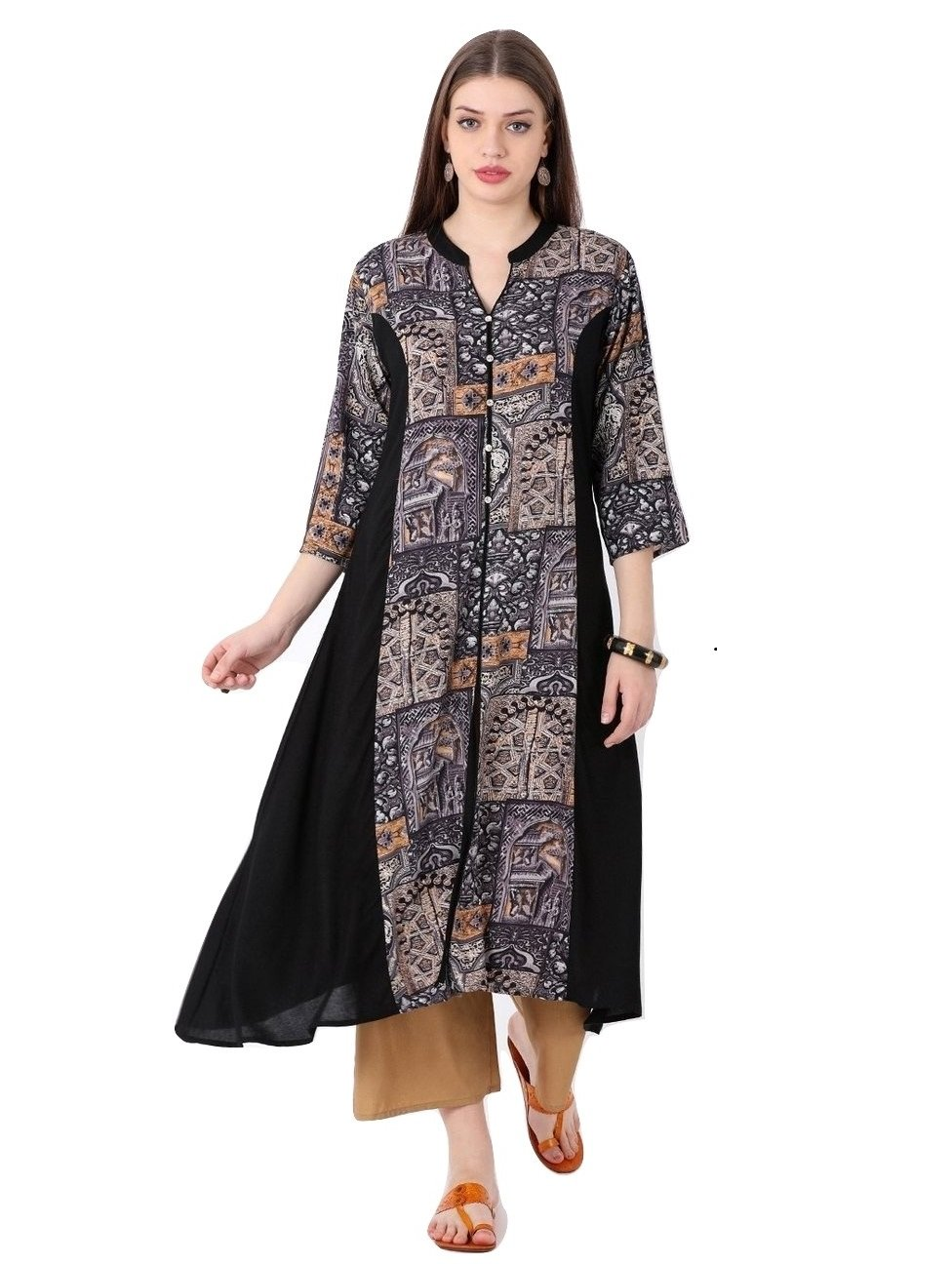 "Lagi Designer Rayon Straight Kurti for Women Printed Tunic Top Mandarin Collar ¾ th Sleeve Dress"" (S-38) by Lagi"