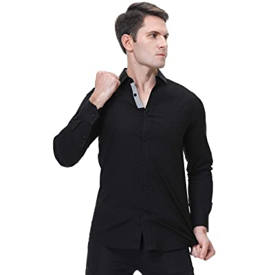 Monlando Mens Dress Shirts Long Sleeve,Bamboo Fiber Wrinkle Free Regular fit Fashion Shirts for Men