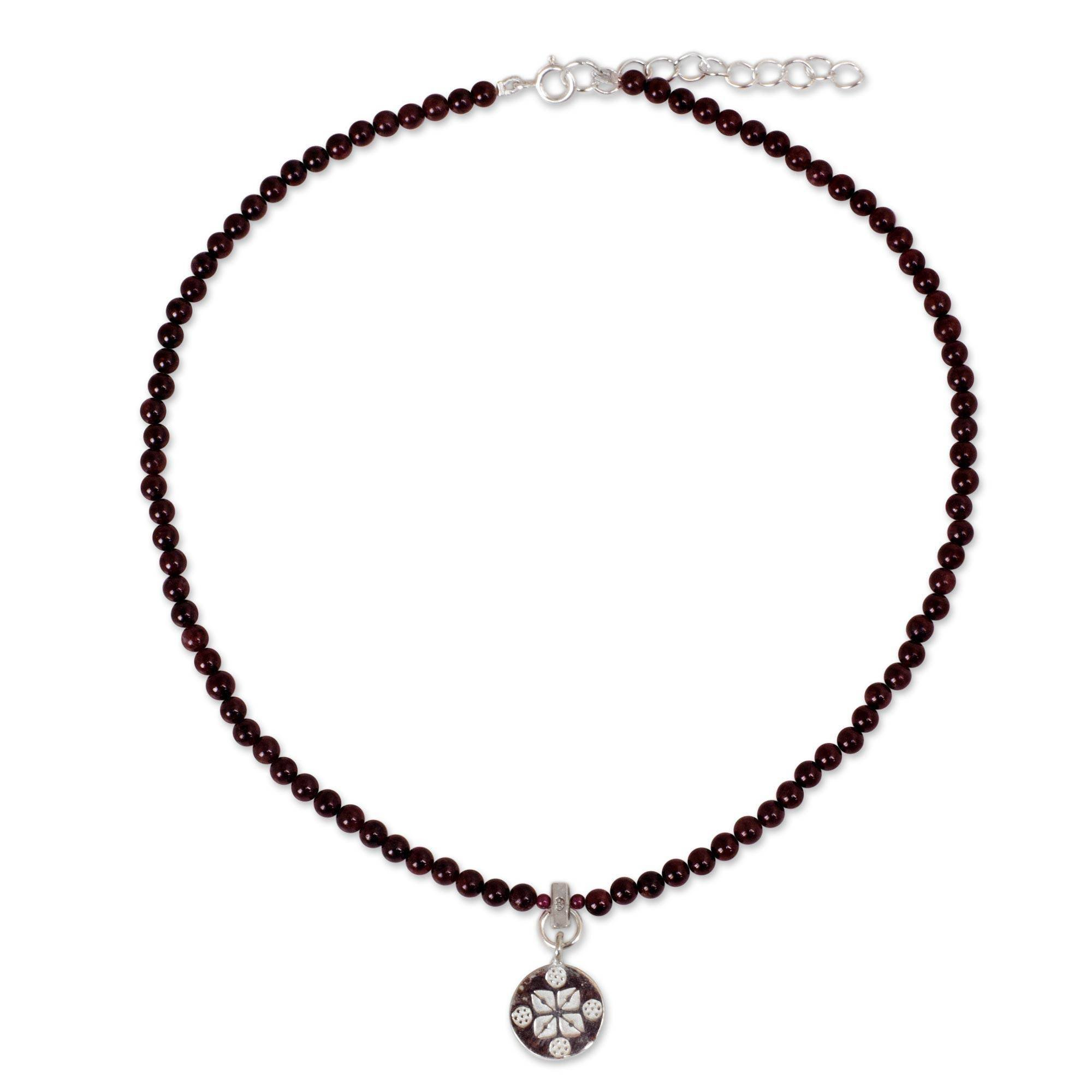 NOVICA Garnet Strand Necklace with 925 Sterling Silver Pendant, 15.75'', Lucky Charm'