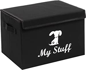 Geyecete liene Fabric Dog Storage Basket Bin Chest with Lid and Handles - Perfect for Organizing Dog Toys, Dog Clothing, callapsible Storage Trunk