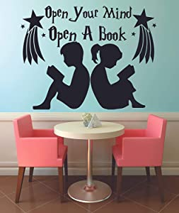 Open Your Mind Open A Book Reading Quotes Wall Sticker Vinyl Wall Decal for Girls Boys Baby Kids Bedroom Nursery Daycare Kindergarten Fun Home Decor Stars Wall Art Vinyl Decoration Size (18x20 inch)