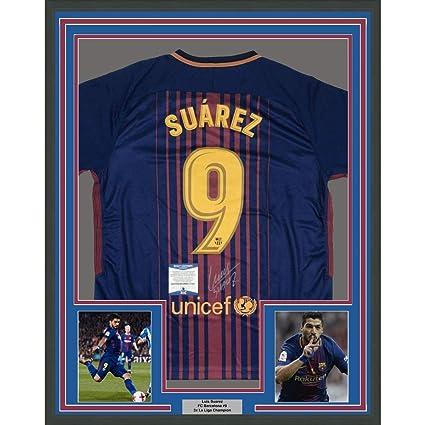 cb8e6573841 Framed Autographed/Signed Luis Suarez 33x42 FC Barcelona Red/Blue Soccer  Futbol Jersey Beckett
