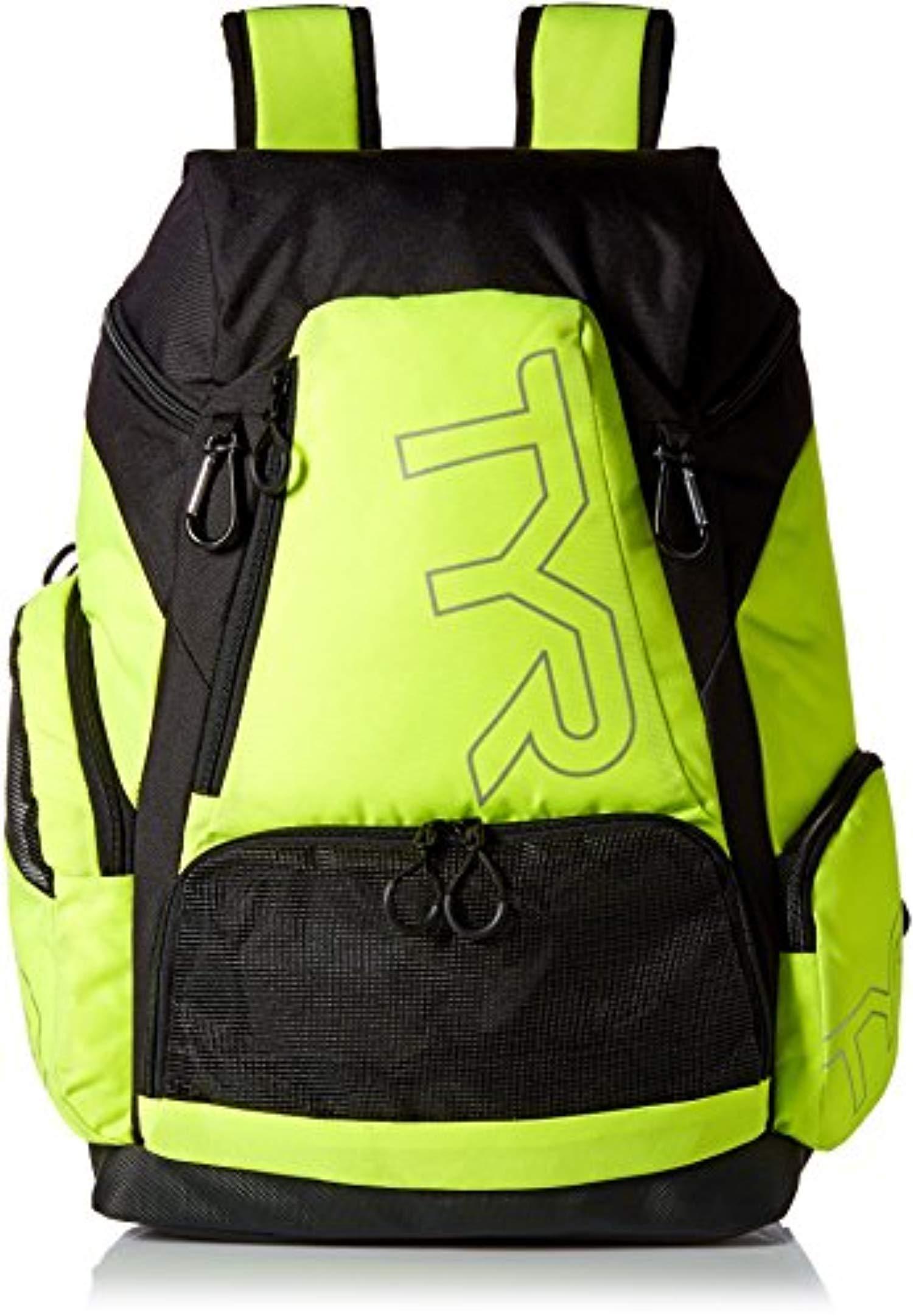 Swim Bundle: TYR Alliance 45L Backpack Fluorescent Yellow All & Swim Earplugs by Competition Swimwear