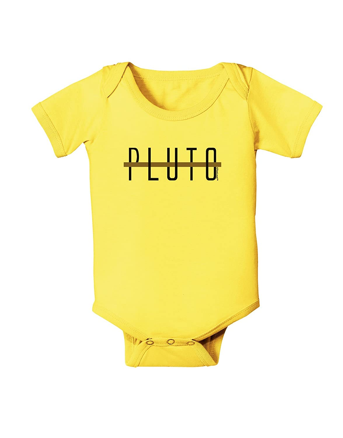 TooLoud Planet Pluto Text Only Baby Romper Bodysuit