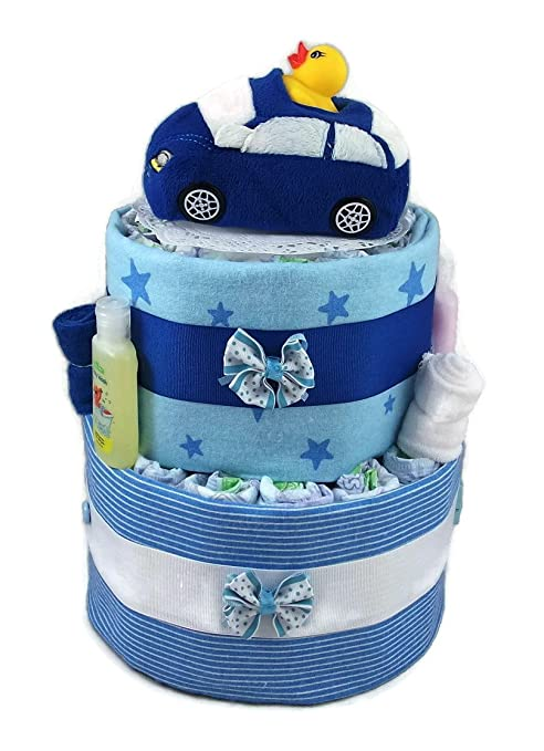 Sunshine Gift Baskets - Blue Diaper Cake Gift Set with a Blue Car