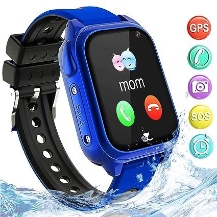 Impermeable GPS Smartwatch para Niños, IP67 Impermeable Reloj inteligente Phone con GPS LBS Tracker SOS Chat de voz Cámara Podómetro Juego Watch Niño ...