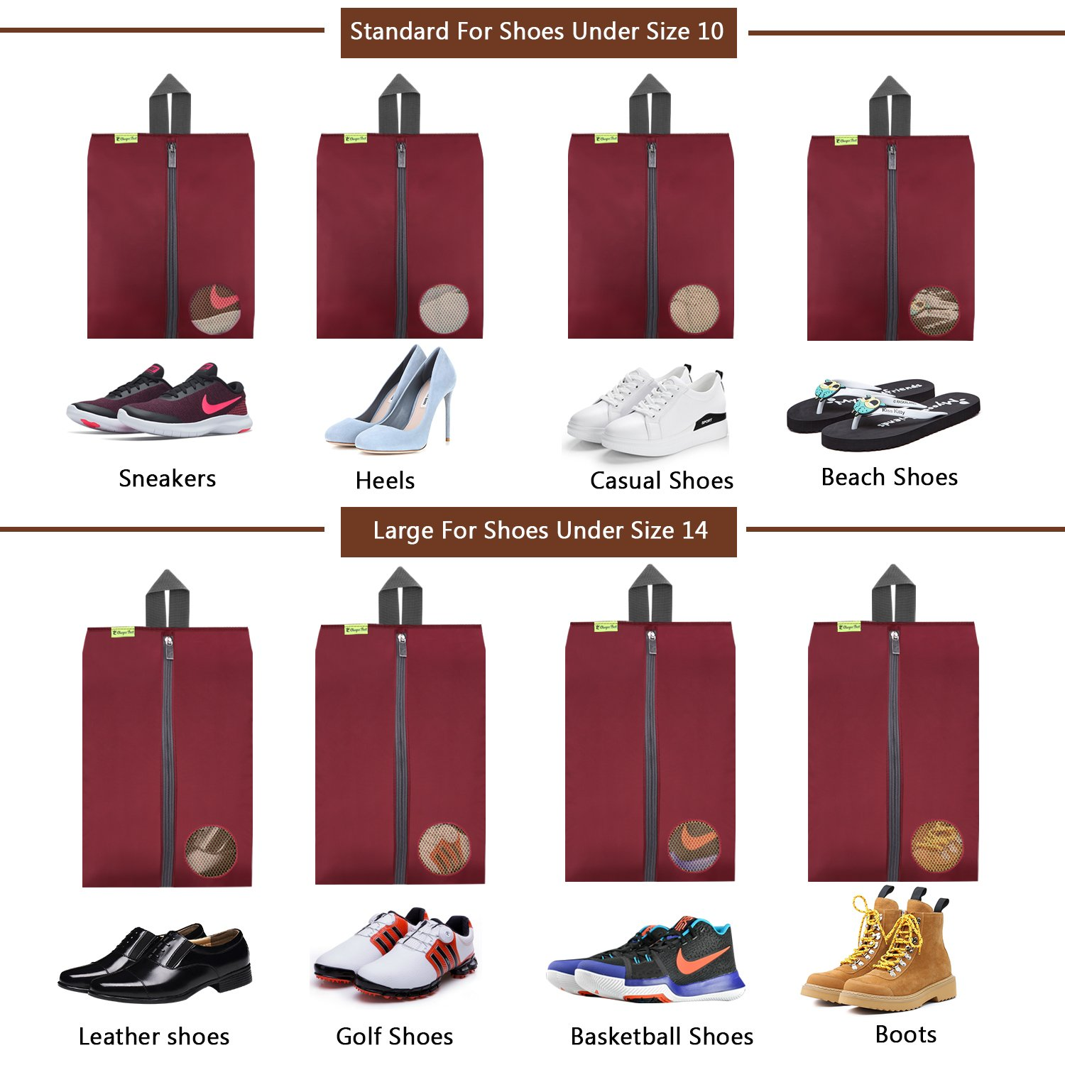 Travel Shoes Bags 4 Pieces Pack – Cheaper Best - Waterproof Durable Versatile Organizers Sleeves Tough Zipper with Fluorescent Mesh Reinforced See-Through Window (Burgundy) by Cheaper Best (Image #4)