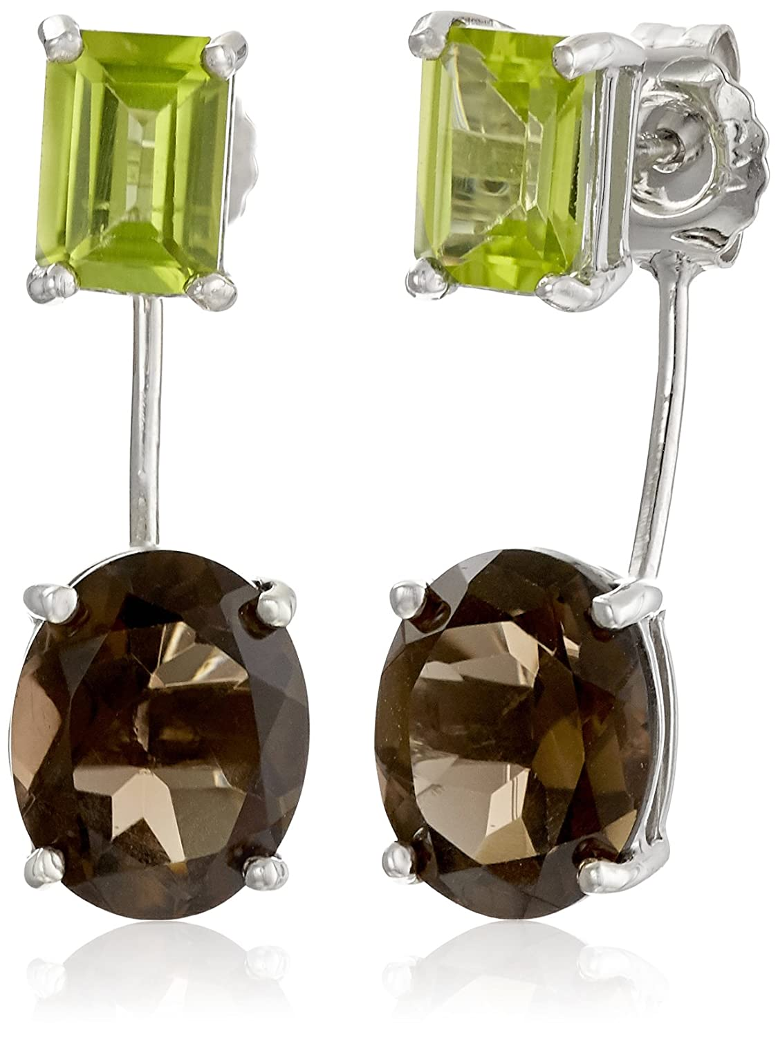 Sterling Silver Genuine Gemstones Two Stud Earring Jackets Sigal Style (CA) ES2014SMQ