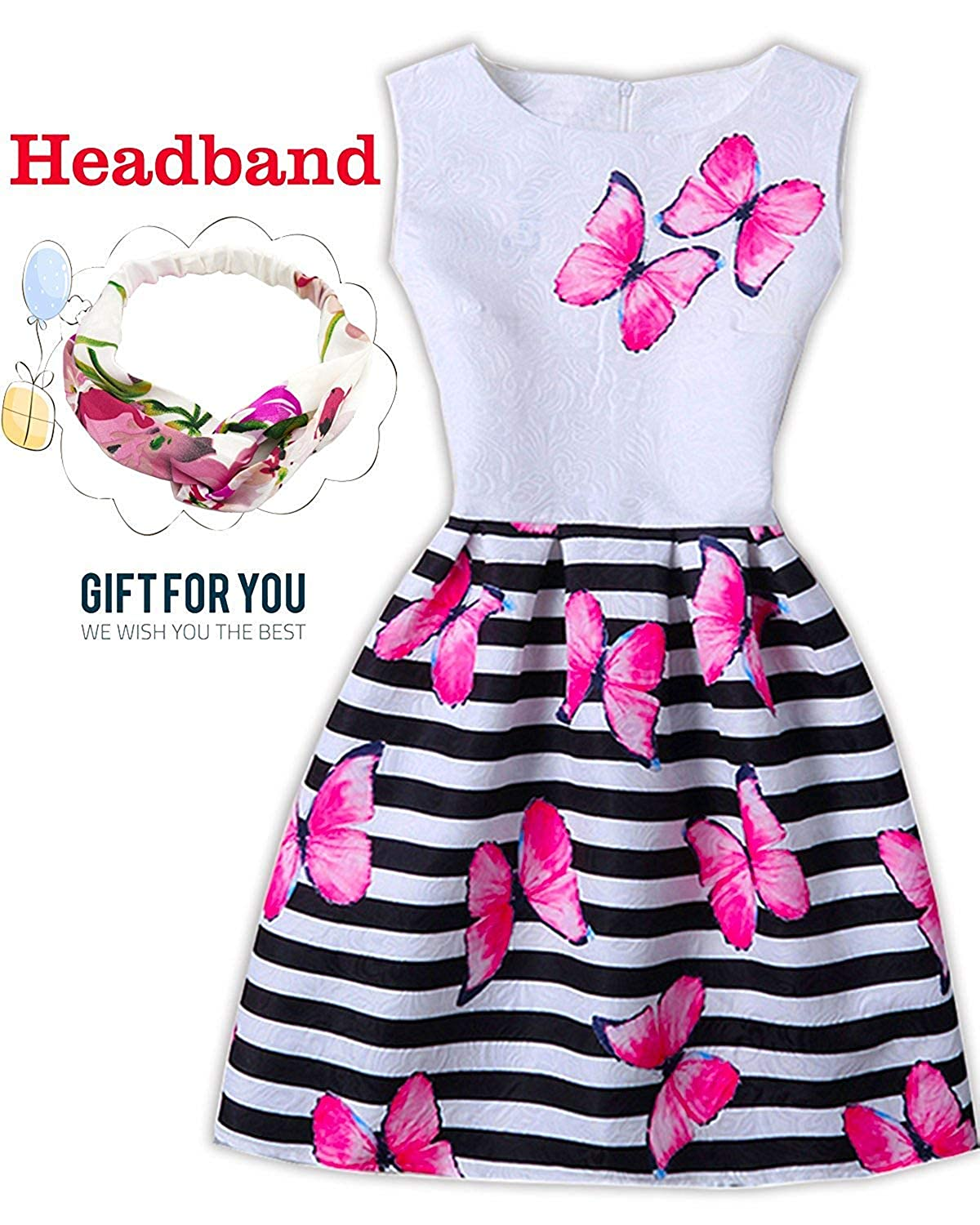 Amazon.com  Easter Dress for Girls Sleeveless Butterfly Print Casual A-line Princess  Dresses with Headband for Easter Party  Clothing 94b603c9b2fb