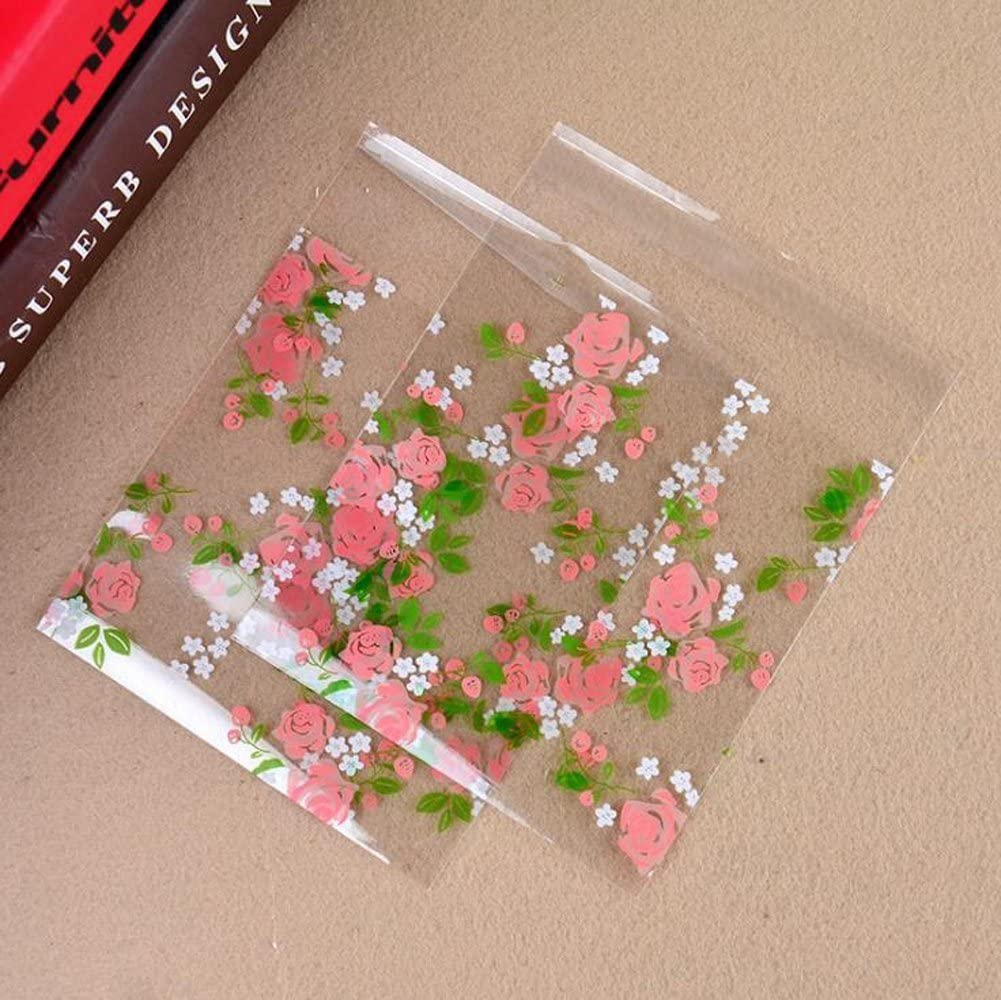100PCS Pink Flower Packing Bag Wedding Candy and Snack Food Packaging Bag