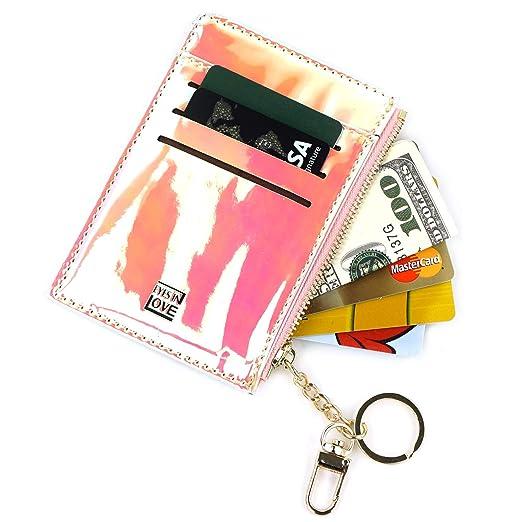 77fa25b5a8bc Amazon.com: Mini Keychain Card Holder Wallet Slim Card Case Coin ...
