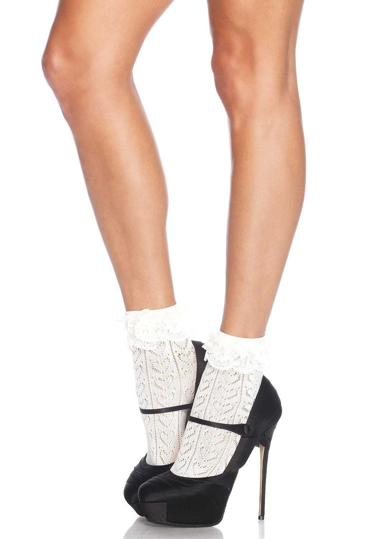 1950s Socks- Women's Bobby Socks Leg Avenue Womens Crochet Heart Anklet Socks $4.95 AT vintagedancer.com