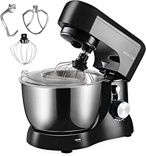 Stand Mixer,5-QT 380W 10-Speed Tilt-Head Food Mixer with Splash Guard, Kitchen Electric Mixer with Dough Hook, Wire Whip & Beater (Black)