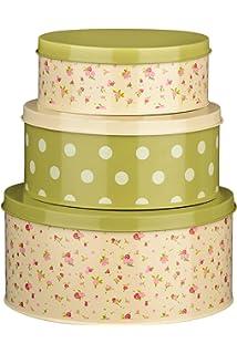 Latest Set Of 3 Polka Dot Cake Tins Made Of Metal Bakeware & Ovenware Home, Furniture & Diy