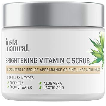 Brightening Vitamin C Face Scrub - Natural Cleansing Exfoliator - Blackhead Reducing Facial Mask - Deep Pore Cleanser - Gentle Exfoliant - Oily, Dry & Sensitive Skin - Green Tea & Coconut Wate...