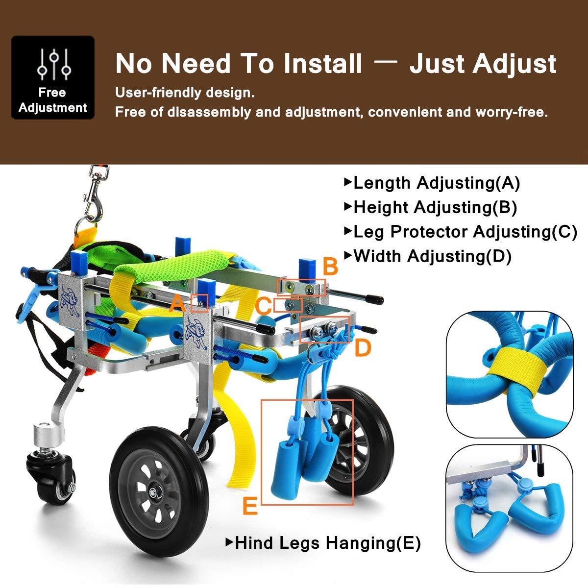 AnnCWLY Carro para Silla de Ruedas de Aluminio para Mascotas para discapacitados Patas traseras Caminar 4 Ruedas Modelo Ajustado a la Longitud de la Silla ...