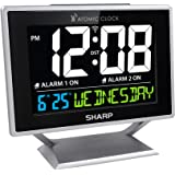 Sharp Atomic Desktop Clock with Color Display - Atomic Accuracy - Easy to Read Screen with Calendar & Day of Week Time/Date D