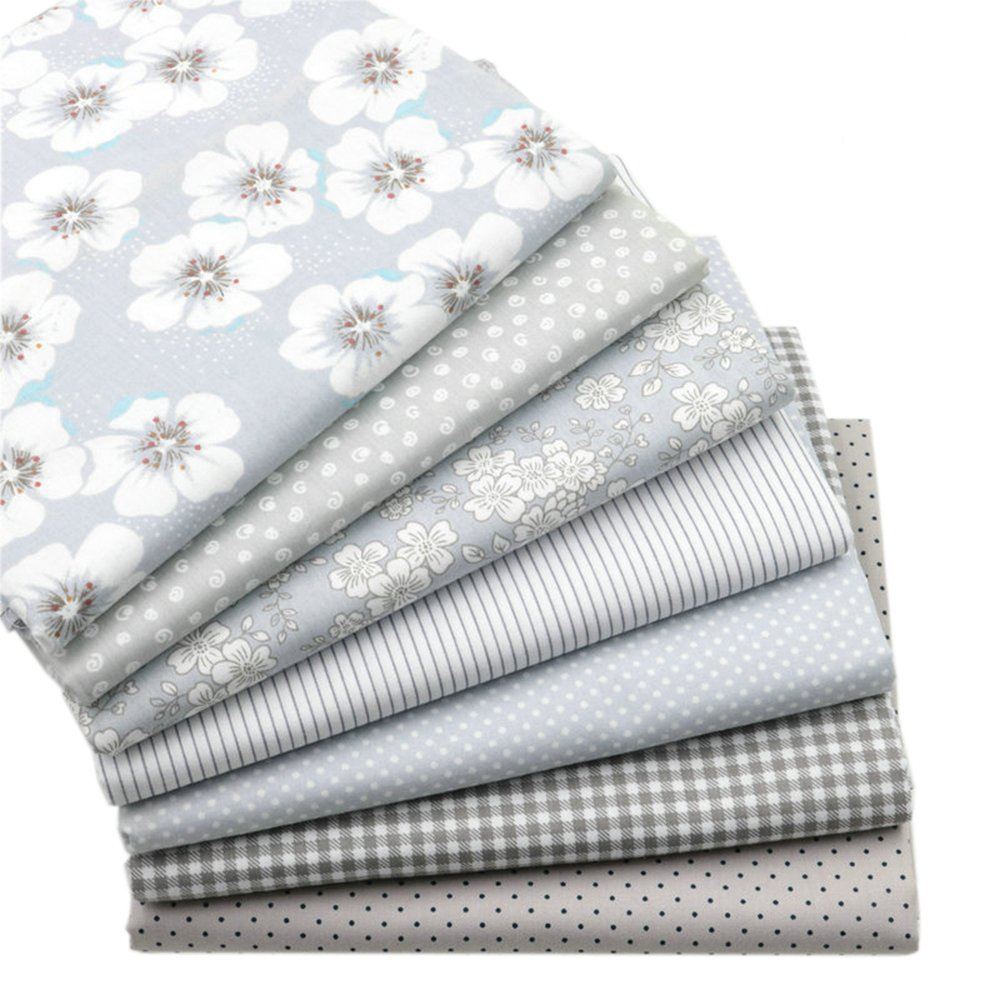 Hanjunzhao Quilting Fabric,Grey Fat Quarters Fabric Bundles,100% Cotton Fabric for Sewing Crafting,Print Floral Striped Polka Dot Gingham Fabric,18'' x 22''(Grey) by Hanjunzhao (Image #9)