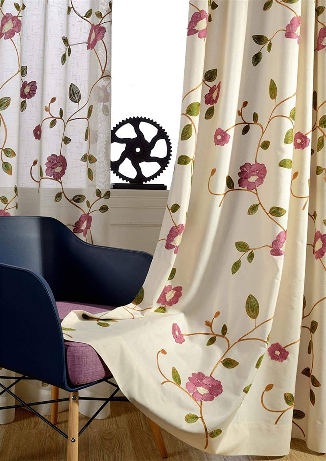 ZZCZZC 1 Set of 2 Panels Pink Flower Embroidery Curtains Elegant Floral Curtain Panels Window Dressing Natural Living Room Ring Top Half-Shading Drapes for Sliding Door 52 inch Wide by 84 inch Long