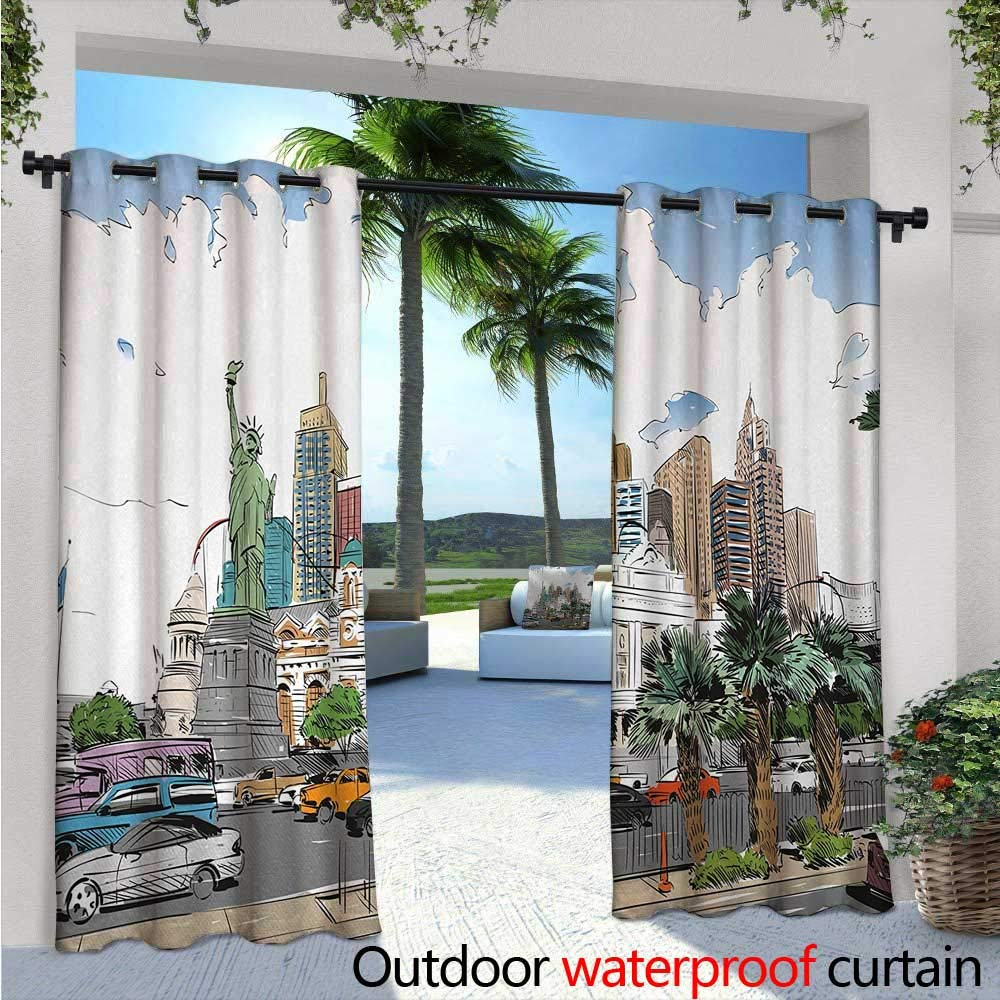 Usa outdoor free standing outdoor privacy curtain w96 x l108 hand drawn las vegas city nevada street sketch buildings statue of liberty cars palms for