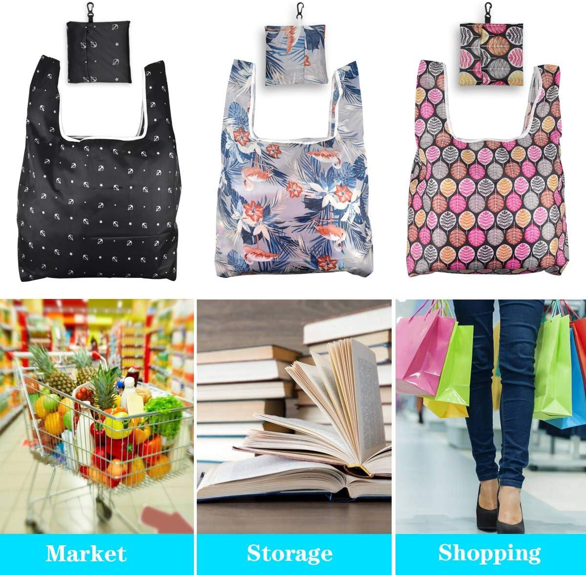 Reutilizables Bolsas de Supermercado Bolsas de comestibles para Compras Ligero Bolsas de Supermercado Dokpav Bolsa de Compras 3pcs Bolsa Compra Plegable Reutilizables Comprar Bolsa de Tela